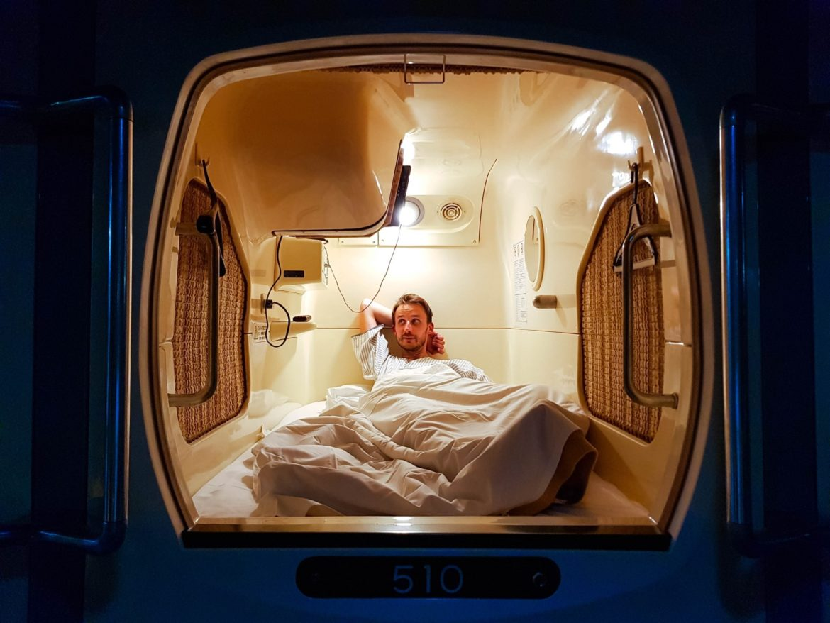 Sleeping in a capsule hotel